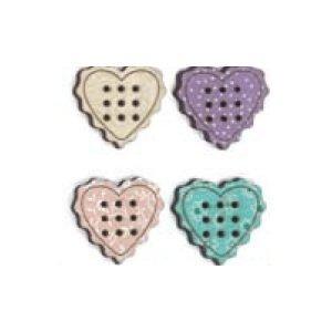4 Botones de corazones de madera pintados