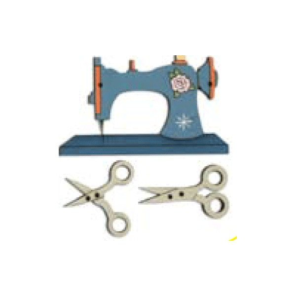 Botón de maquina de coser azul con tijeras