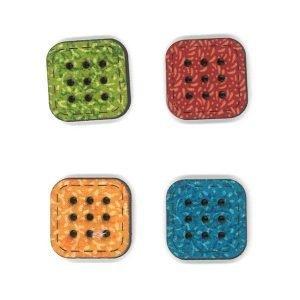 4 Botones de botones de colores de madera pintados