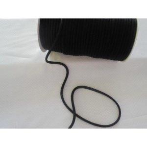 Cordón negro de algodón para mochilas de 8mm