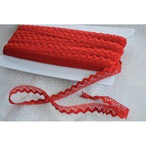 Puntilla roja de algodón de 1cm