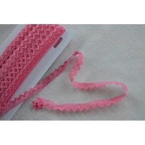 Puntilla rosa chicle de algodón de 1 cm