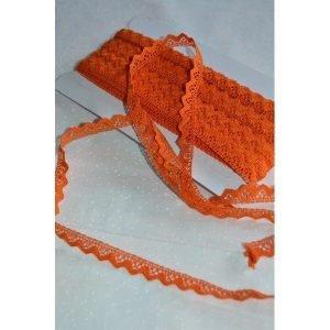 Puntilla naranja de algodón de 1cm