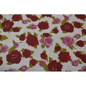 Lino en flores rojas sobre natural (QUEDAN 24 CM)