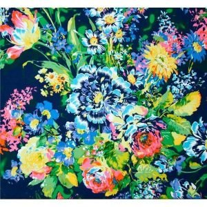 Tela de crepe de flores multicolores sobre azul