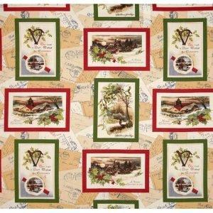 Postales navideñas en verde y rojo sobre crudo