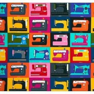 Tela de maquinas de coser de colores en cuadros (26cm)