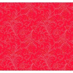 Tela con flores sobre rojo