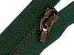Cremallera verde metálica con mosquetón de 25 cm