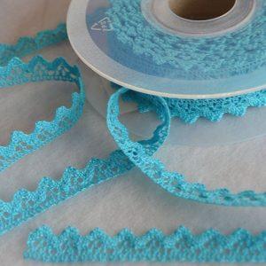 Puntilla azul turquesa algodón de 1 cm