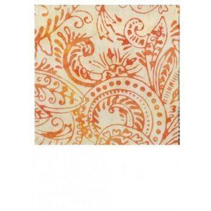 Batik en cachemir naranja sobre crudo